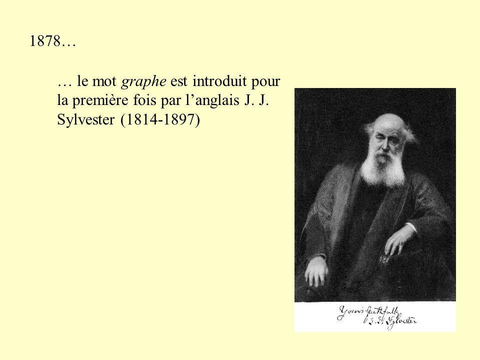 1878… … le mot graphe est introduit pour la première fois par langlais J. J. Sylvester (1814-1897)