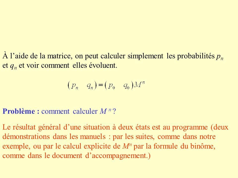 À laide de la matrice, on peut calculer simplement les probabilités p n et q n et voir comment elles évoluent. Problème : comment calculer M n ? Le ré