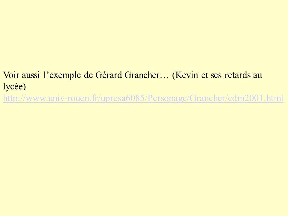 Voir aussi lexemple de Gérard Grancher… (Kevin et ses retards au lycée) http://www.univ-rouen.fr/upresa6085/Persopage/Grancher/cdm2001.html http://www.univ-rouen.fr/upresa6085/Persopage/Grancher/cdm2001.html