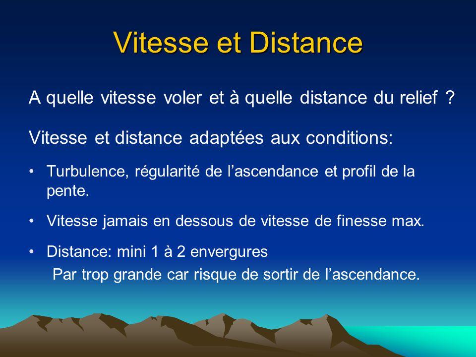Vitesse et Distance A quelle vitesse voler et à quelle distance du relief ? Vitesse et distance adaptées aux conditions: Turbulence, régularité de las