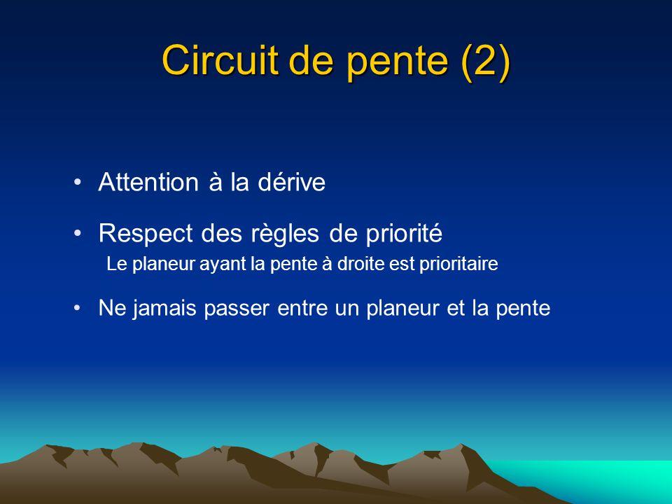 Circuit de pente (2) Attention à la dérive Respect des règles de priorité Le planeur ayant la pente à droite est prioritaire Ne jamais passer entre un
