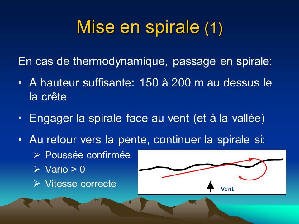 Mise en spirale (1) En cas de thermodynamique, passage en spirale: A hauteur suffisante: 150 à 200 m au dessus le la crête Engager la spirale face au