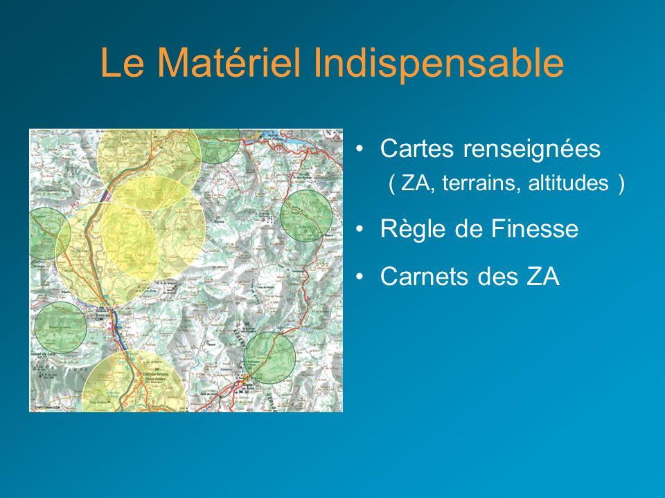 Le Matériel Indispensable Cartes renseignées ( ZA, terrains, altitudes ) Règle de Finesse Carnets des ZA