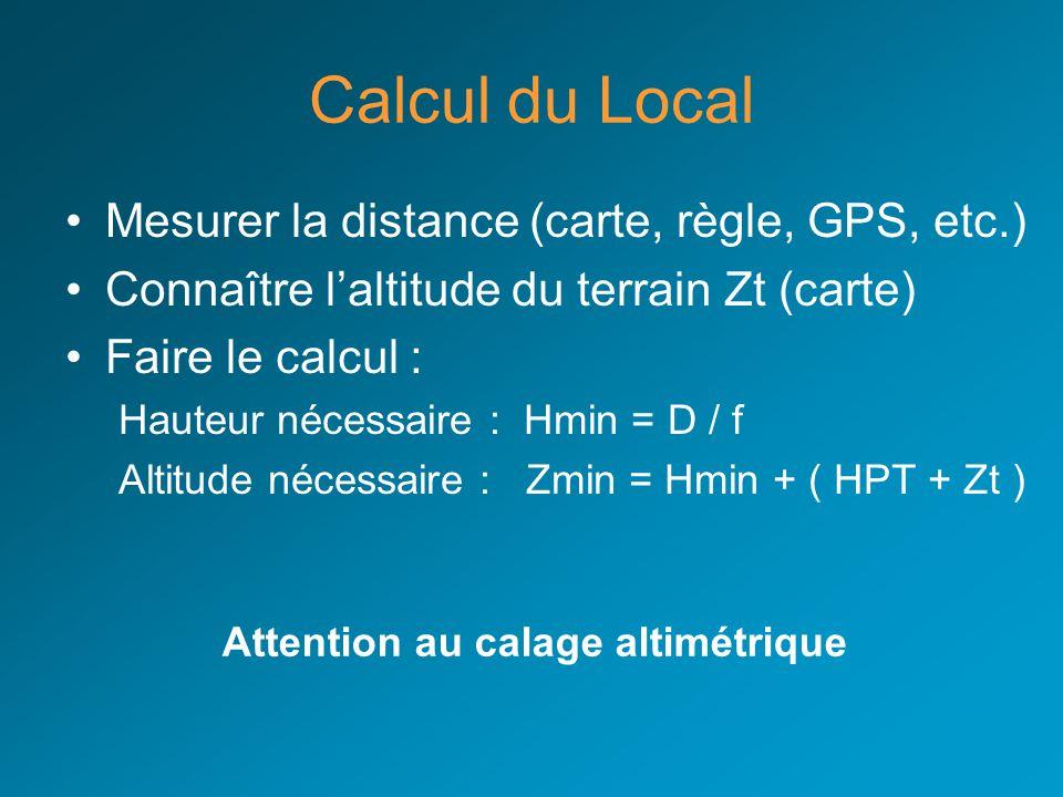 Calcul du Local Mesurer la distance (carte, règle, GPS, etc.) Connaître laltitude du terrain Zt (carte) Faire le calcul : Hauteur nécessaire : Hmin =