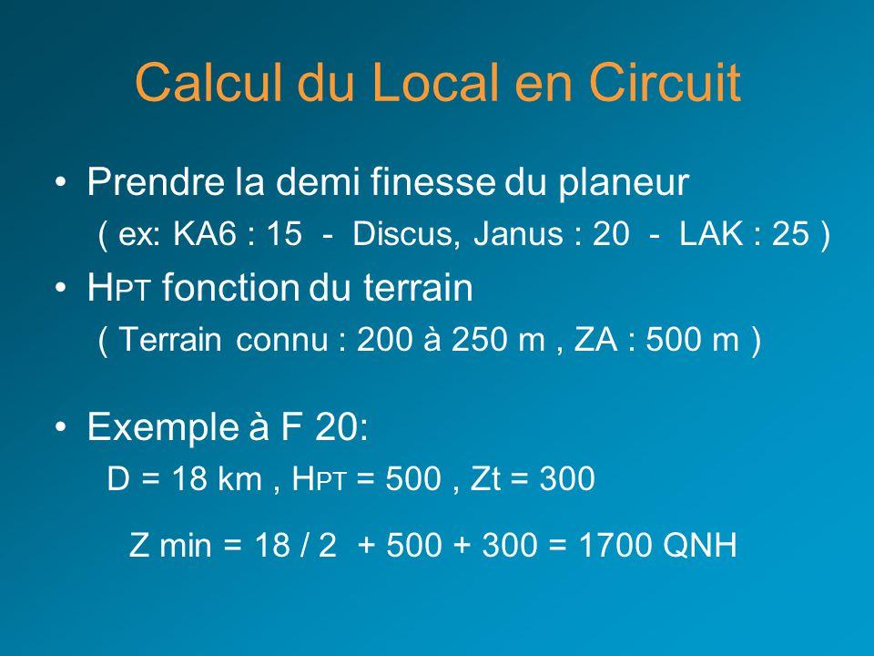 Calcul du Local en Circuit Prendre la demi finesse du planeur ( ex: KA6 : 15 - Discus, Janus : 20 - LAK : 25 ) H PT fonction du terrain ( Terrain conn