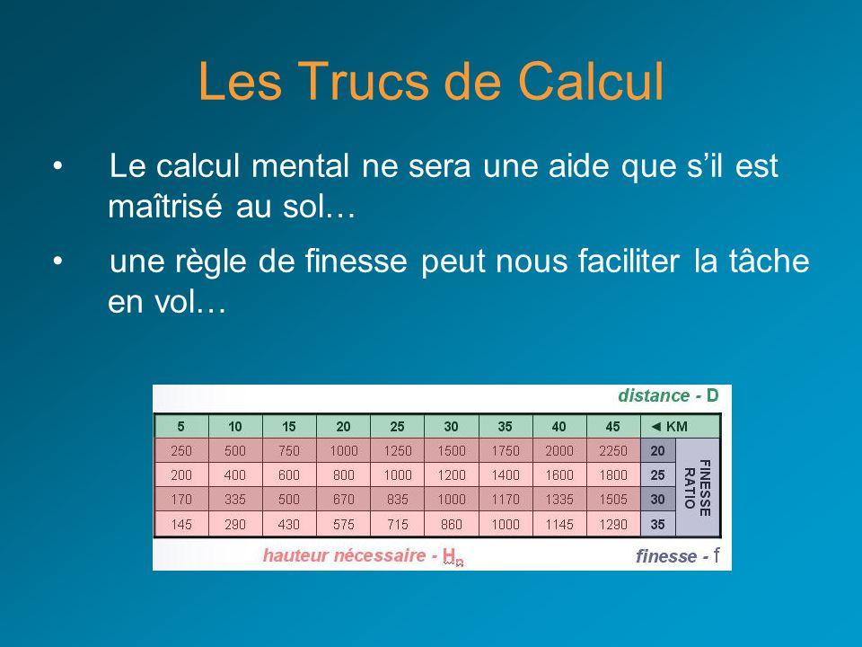 Les Trucs de Calcul Le calcul mental ne sera une aide que sil est maîtrisé au sol… une règle de finesse peut nous faciliter la tâche en vol…