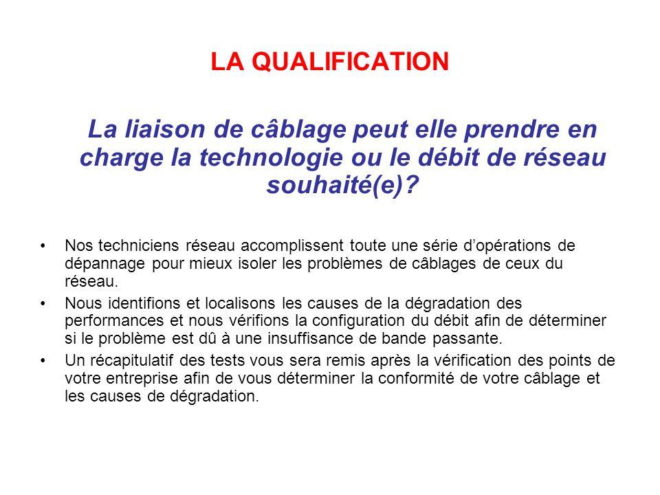 LA QUALIFICATION La liaison de câblage peut elle prendre en charge la technologie ou le débit de réseau souhaité(e).