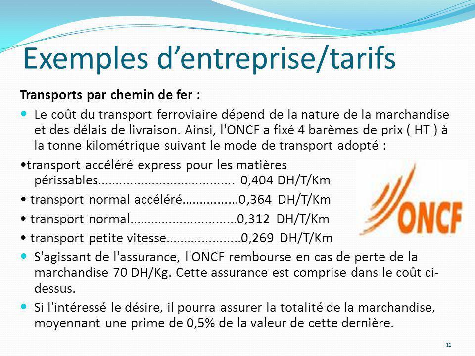Exemples dentreprise/tarifs Transports par chemin de fer : Le coût du transport ferroviaire dépend de la nature de la marchandise et des délais de liv