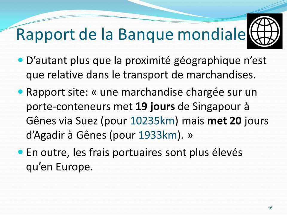 Rapport de la Banque mondiale Dautant plus que la proximité géographique nest que relative dans le transport de marchandises. Rapport site: « une marc