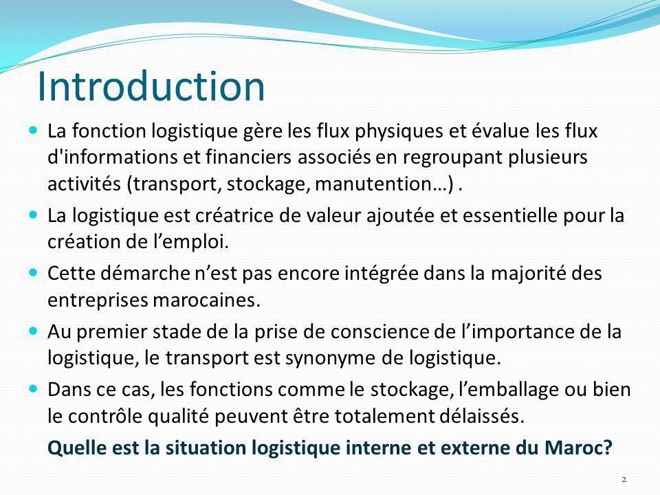 Introduction La fonction logistique gère les flux physiques et évalue les flux d'informations et financiers associés en regroupant plusieurs activités