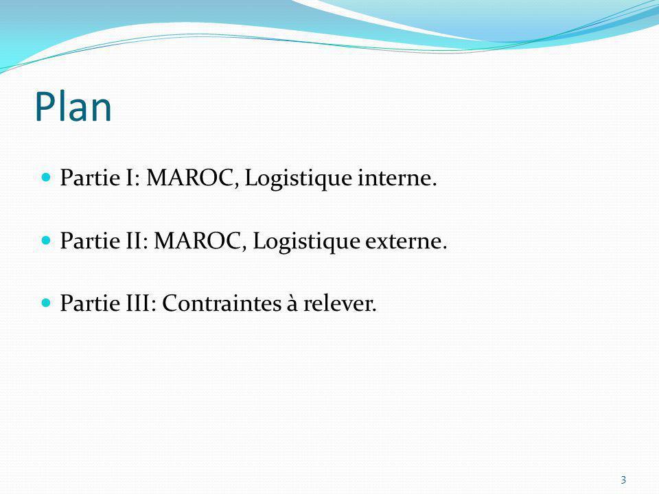 Plan Partie I: MAROC, Logistique interne. Partie II: MAROC, Logistique externe. Partie III: Contraintes à relever. 3
