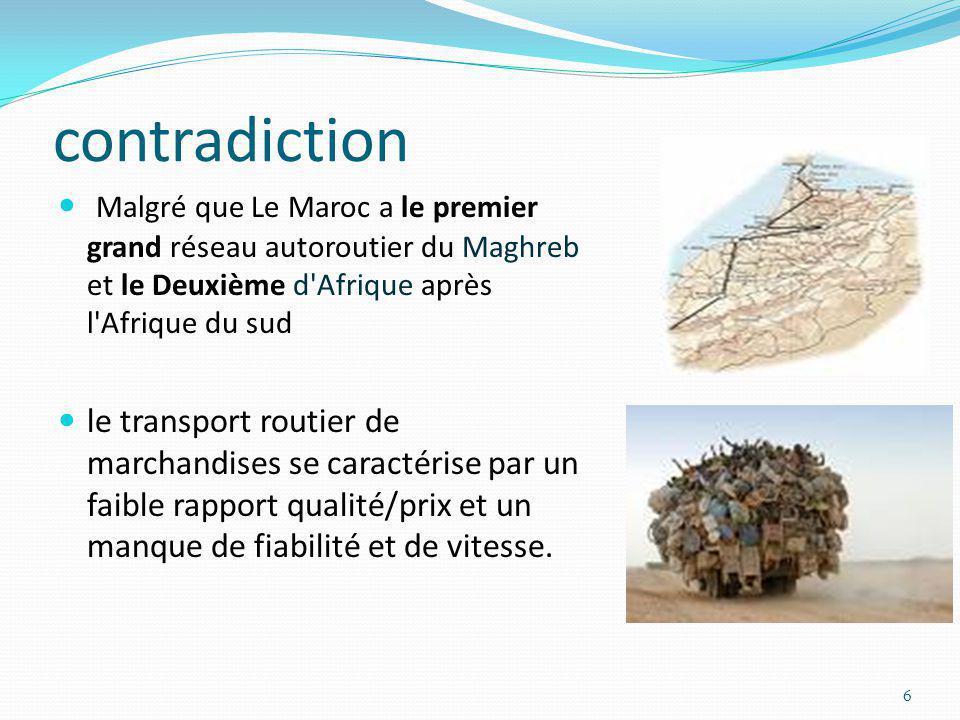 contradiction Malgré que Le Maroc a le premier grand réseau autoroutier du Maghreb et le Deuxième d'Afrique après l'Afrique du sud le transport routie