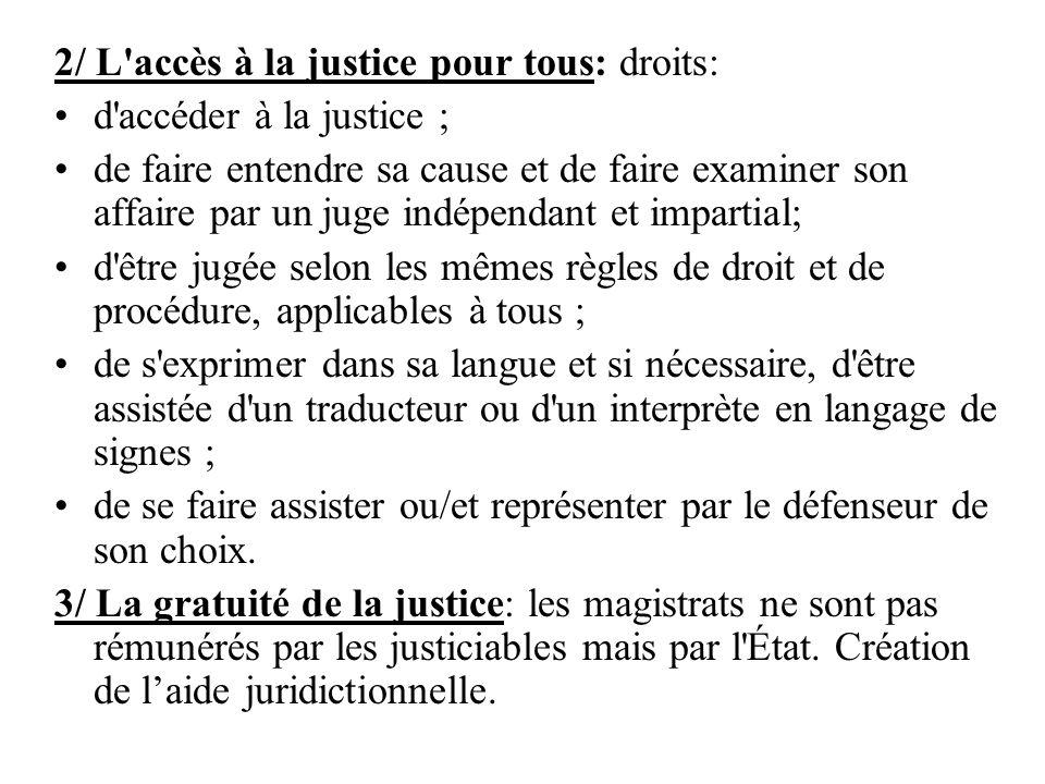 2/ L'accès à la justice pour tous: droits: d'accéder à la justice ; de faire entendre sa cause et de faire examiner son affaire par un juge indépendan