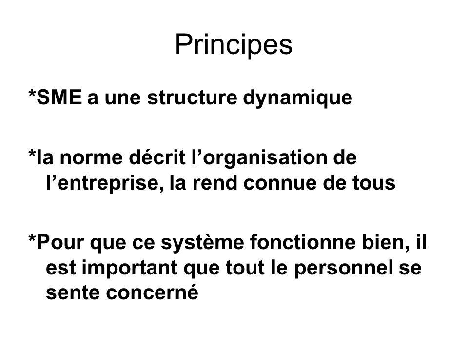 Principes *SME a une structure dynamique *la norme décrit lorganisation de lentreprise, la rend connue de tous *Pour que ce système fonctionne bien, i