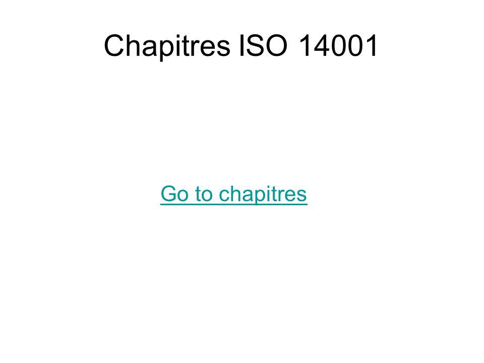 Chapitres ISO 14001 Go to chapitres