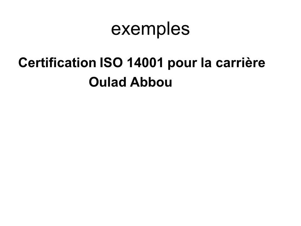 exemples Certification ISO 14001 pour la carrière Oulad Abbou