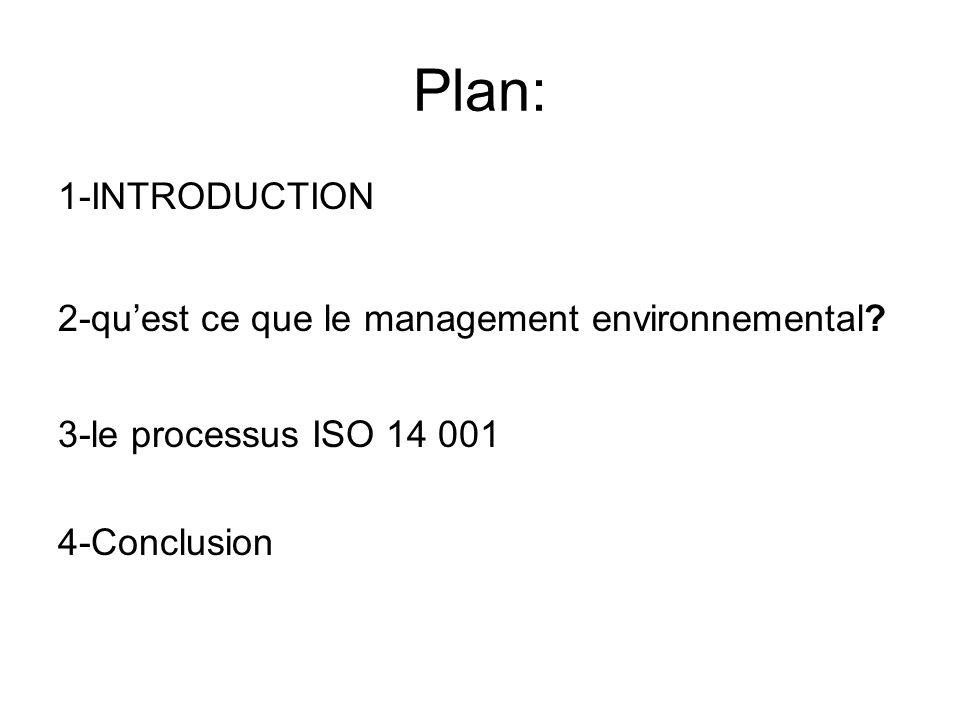 Plan: 1-INTRODUCTION 2-quest ce que le management environnemental? 3-le processus ISO 14 001 4-Conclusion