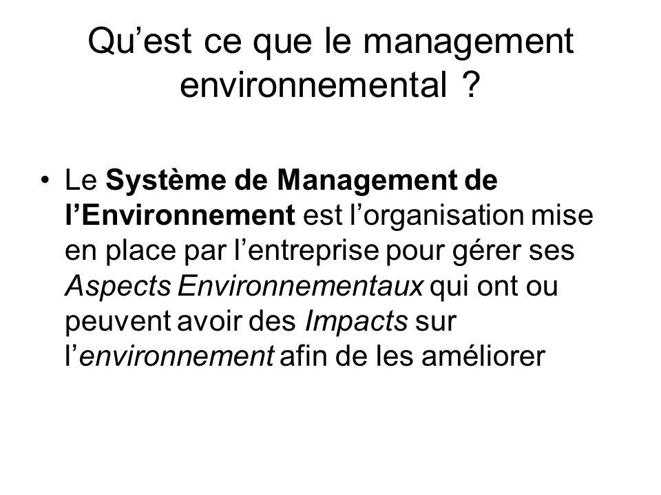Quest ce que le management environnemental ? Le Système de Management de lEnvironnement est lorganisation mise en place par lentreprise pour gérer ses