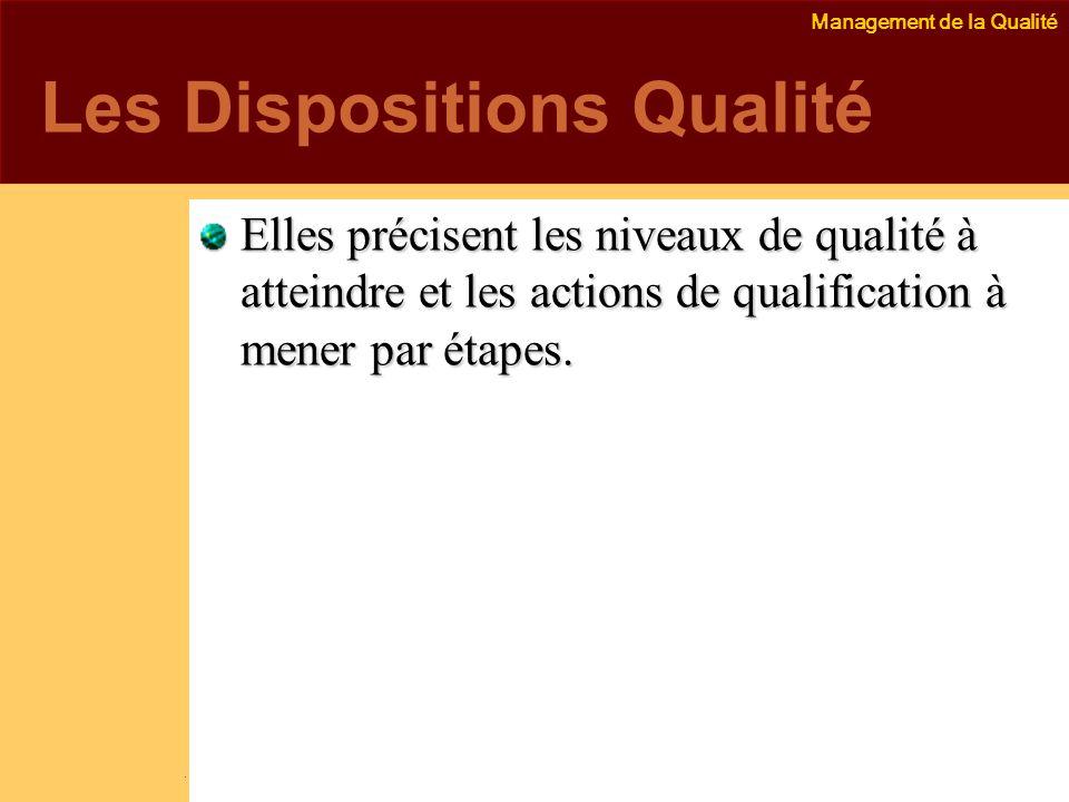 Management de la Qualité Emmanuel Delannoy e.delannoy@noolithic.com www.noolithic.com Les Dispositions Qualité Elles précisent les niveaux de qualité à atteindre et les actions de qualification à mener par étapes.