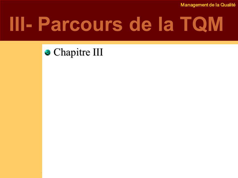 Management de la Qualité Emmanuel Delannoy e.delannoy@noolithic.com www.noolithic.com III- Parcours de la TQM Chapitre III