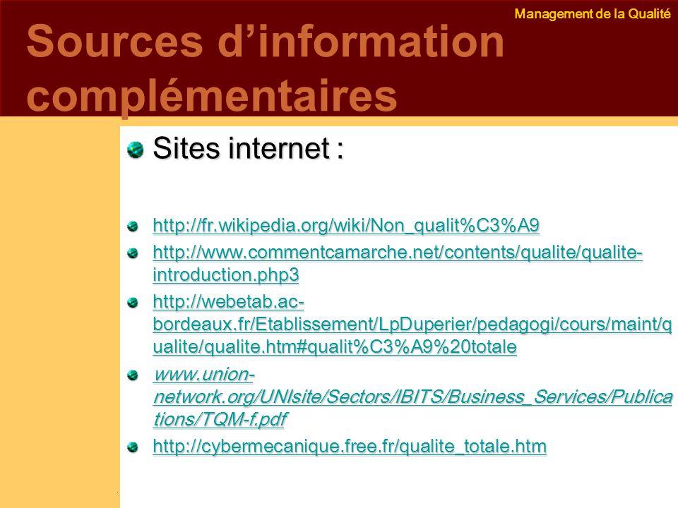 Management de la Qualité Emmanuel Delannoy e.delannoy@noolithic.com www.noolithic.com Sources dinformation complémentaires Sites internet : http://fr.wikipedia.org/wiki/Non_qualit%C3%A9 http://www.commentcamarche.net/contents/qualite/qualite- introduction.php3 http://www.commentcamarche.net/contents/qualite/qualite- introduction.php3 http://webetab.ac- bordeaux.fr/Etablissement/LpDuperier/pedagogi/cours/maint/q ualite/qualite.htm#qualit%C3%A9%20totale http://webetab.ac- bordeaux.fr/Etablissement/LpDuperier/pedagogi/cours/maint/q ualite/qualite.htm#qualit%C3%A9%20totale www.union- network.org/UNIsite/Sectors/IBITS/Business_Services/Publica tions/TQM-f.pdf www.union- network.org/UNIsite/Sectors/IBITS/Business_Services/Publica tions/TQM-f.pdf http://cybermecanique.free.fr/qualite_totale.htm