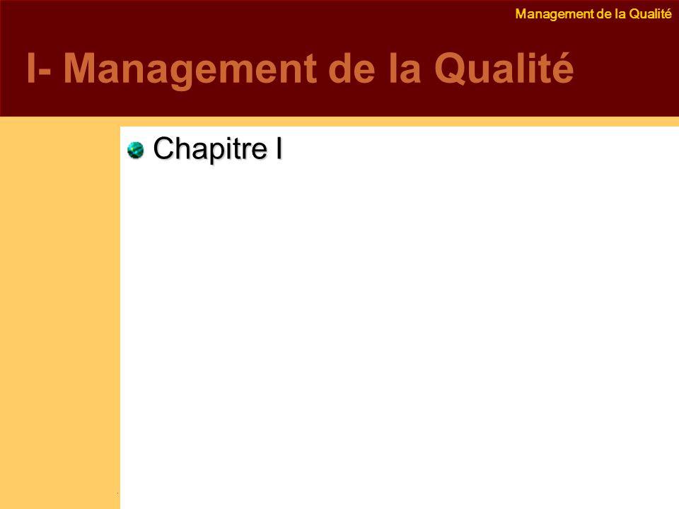 Management de la Qualité Emmanuel Delannoy e.delannoy@noolithic.com www.noolithic.com I- Management de la Qualité Chapitre I