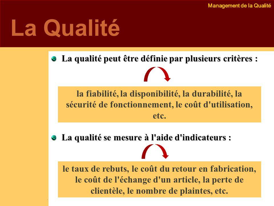 Management de la Qualité Emmanuel Delannoy e.delannoy@noolithic.com www.noolithic.com La Qualité La qualité peut être définie par plusieurs critères : La qualité se mesure à l aide d indicateurs : la fiabilité, la disponibilité, la durabilité, la sécurité de fonctionnement, le coût d utilisation, etc.
