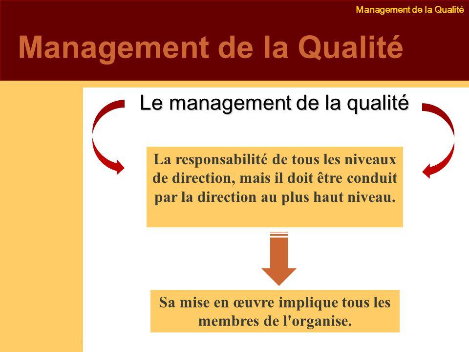 Management de la Qualité Emmanuel Delannoy e.delannoy@noolithic.com www.noolithic.com Management de la Qualité Le management de la qualité Le management de la qualité La responsabilité de tous les niveaux de direction, mais il doit être conduit par la direction au plus haut niveau.
