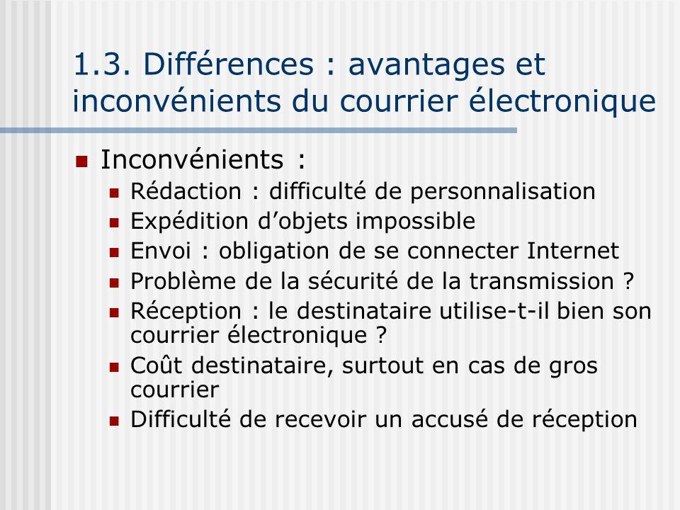 1.3. Différences : avantages et inconvénients du courrier électronique Inconvénients : Rédaction : difficulté de personnalisation Expédition dobjets i