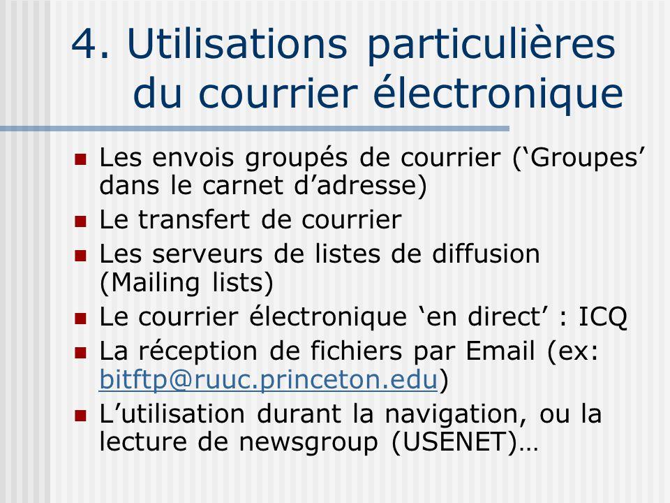4. Utilisations particulières du courrier électronique Les envois groupés de courrier (Groupes dans le carnet dadresse) Le transfert de courrier Les s