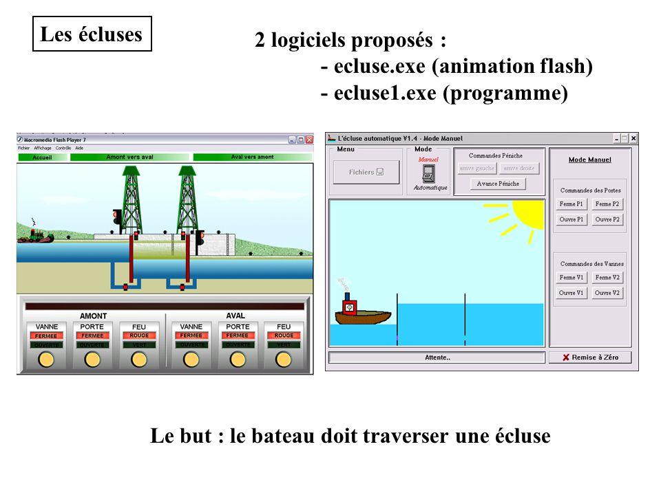 Les écluses 2 logiciels proposés : - ecluse.exe (animation flash) - ecluse1.exe (programme) Le but : le bateau doit traverser une écluse