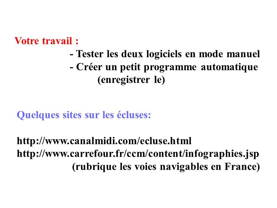 Quelques sites sur les écluses: http://www.canalmidi.com/ecluse.html http://www.carrefour.fr/ccm/content/infographies.jsp (rubrique les voies navigables en France) Votre travail : - Tester les deux logiciels en mode manuel - Créer un petit programme automatique (enregistrer le)
