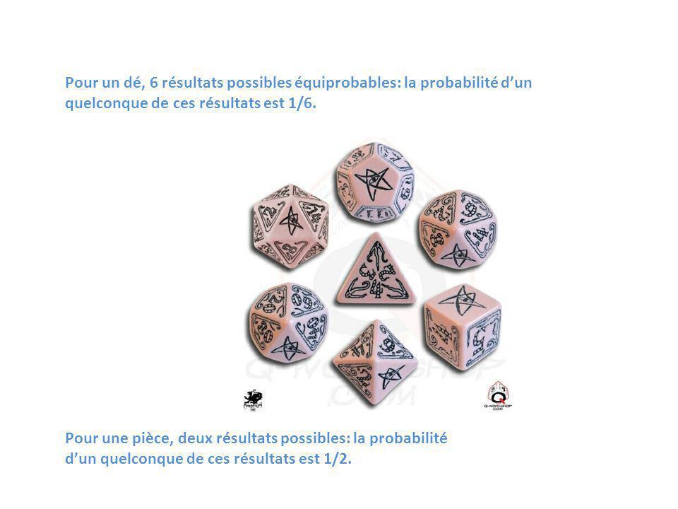 Pour un dé, 6 résultats possibles équiprobables: la probabilité dun quelconque de ces résultats est 1/6. Pour une pièce, deux résultats possibles: la