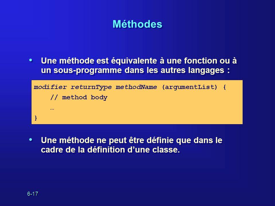6-17 Méthodes Une méthode est équivalente à une fonction ou à un sous-programme dans les autres langages : Une méthode ne peut être définie que dans le cadre de la définition dune classe.