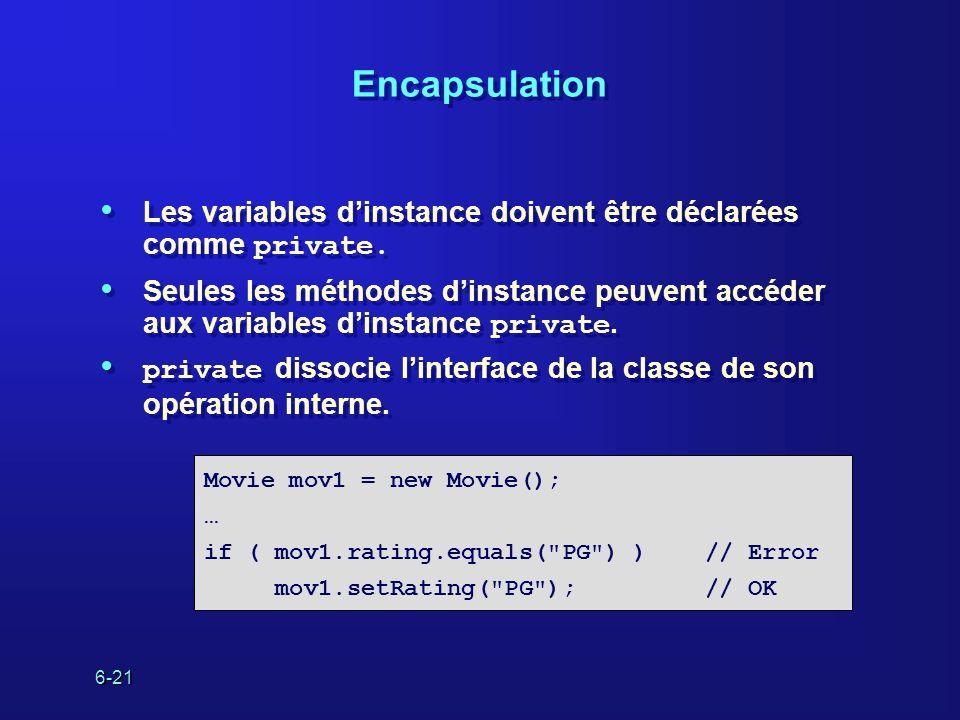 6-21 Encapsulation Les variables dinstance doivent être déclarées comme private.
