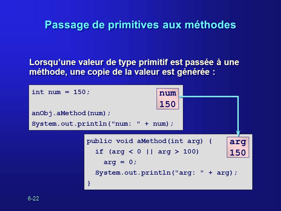 6-22 Passage de primitives aux méthodes Lorsquune valeur de type primitif est passée à une méthode, une copie de la valeur est générée : Lorsquune valeur de type primitif est passée à une méthode, une copie de la valeur est générée : public void aMethod(int arg) { if (arg 100) arg = 0; System.out.println( arg: + arg); } int num = 150; anObj.aMethod(num); System.out.println( num: + num); num 150 arg 150