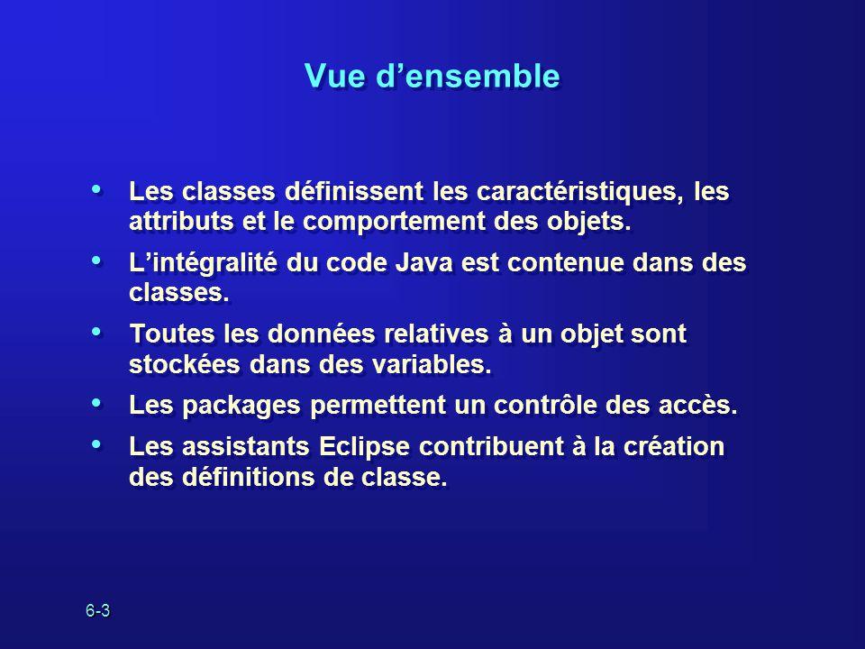 6-3 Vue densemble Les classes définissent les caractéristiques, les attributs et le comportement des objets.