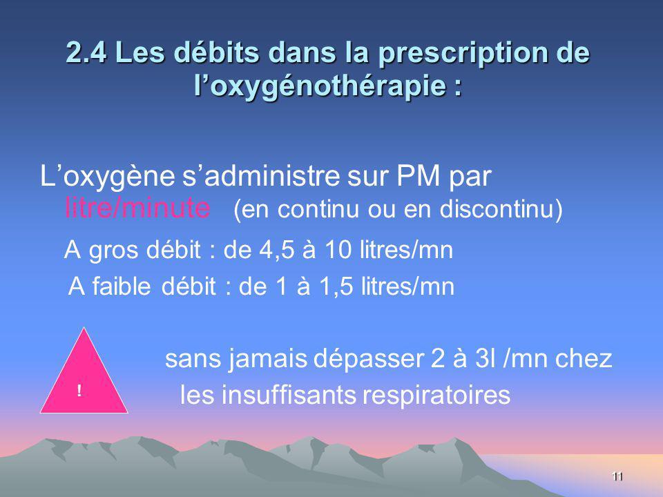11 2.4 Les débits dans la prescription de loxygénothérapie : Loxygène sadministre sur PM par litre/minute (en continu ou en discontinu) A gros débit : de 4,5 à 10 litres/mn A faible débit : de 1 à 1,5 litres/mn sans jamais dépasser 2 à 3l /mn chez les insuffisants respiratoires !