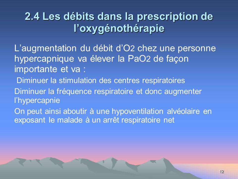 12 2.4 Les débits dans la prescription de loxygénothérapie Laugmentation du débit dO 2 chez une personne hypercapnique va élever la PaO 2 de façon imp