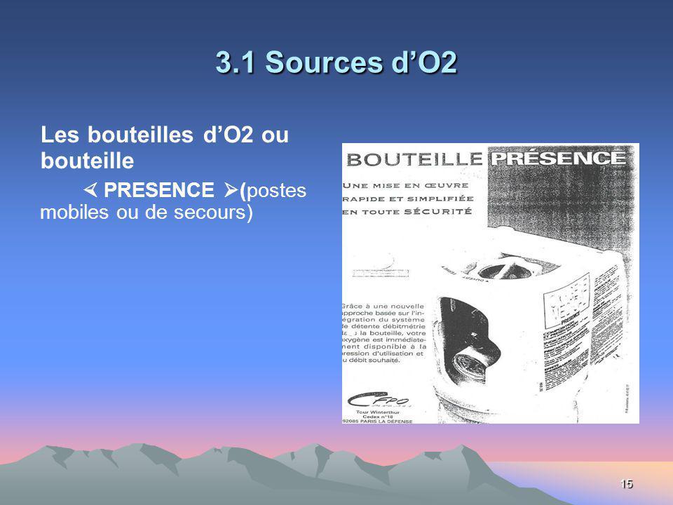 15 3.1 Sources dO2 Les bouteilles dO2 ou bouteille PRESENCE (postes mobiles ou de secours)