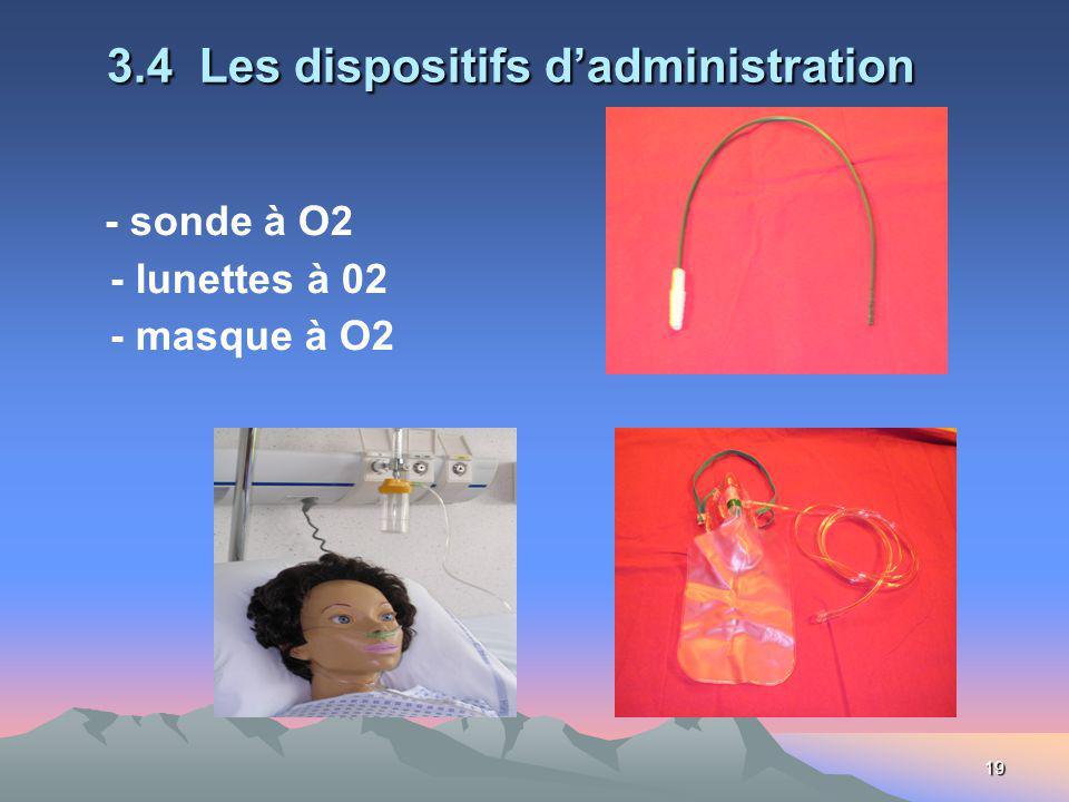 19 3.4 Les dispositifs dadministration - sonde à O2 - lunettes à 02 - masque à O2