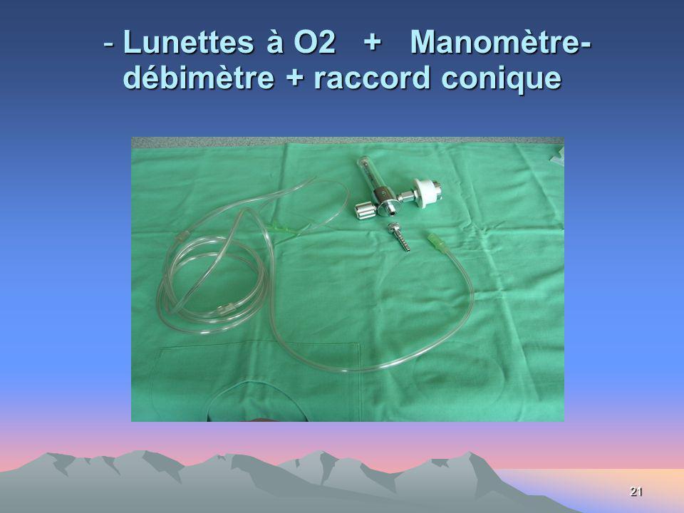 21 - Lunettes à O2 + Manomètre- débimètre + raccord conique - Lunettes à O2 + Manomètre- débimètre + raccord conique