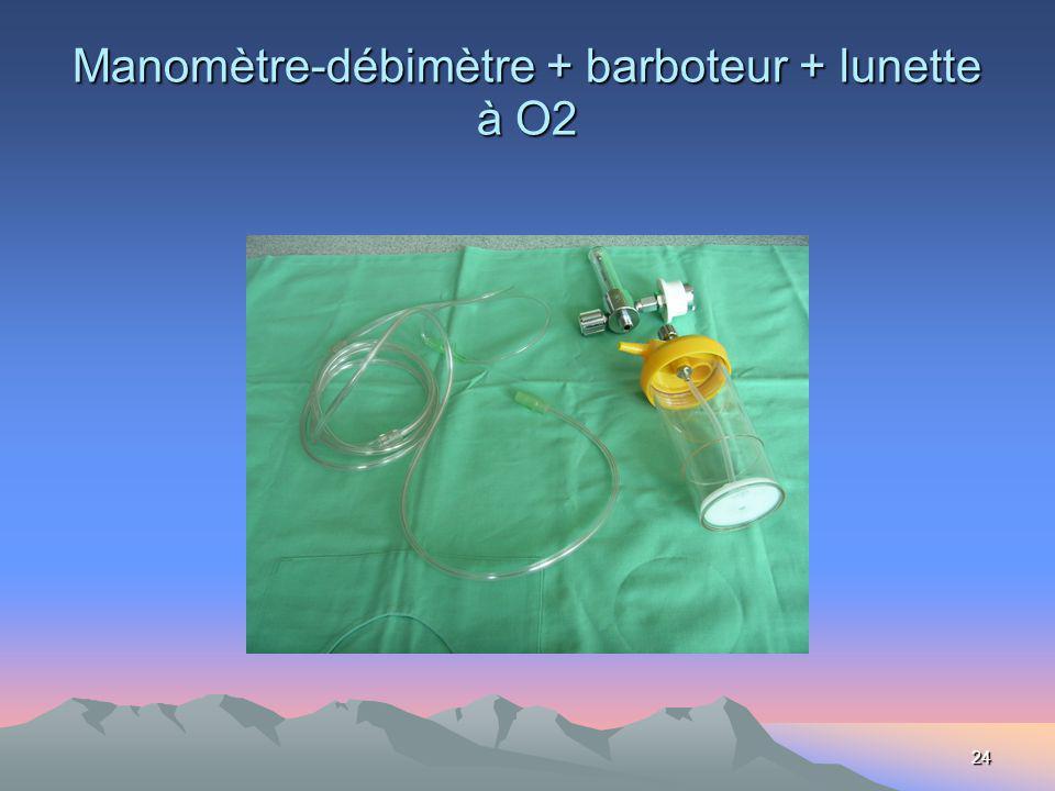 24 Manomètre-débimètre + barboteur + lunette à O2