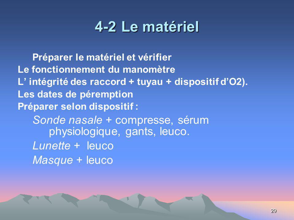 29 4-2 Le matériel Préparer le matériel et vérifier Le fonctionnement du manomètre L intégrité des raccord + tuyau + dispositif dO2). Les dates de pér