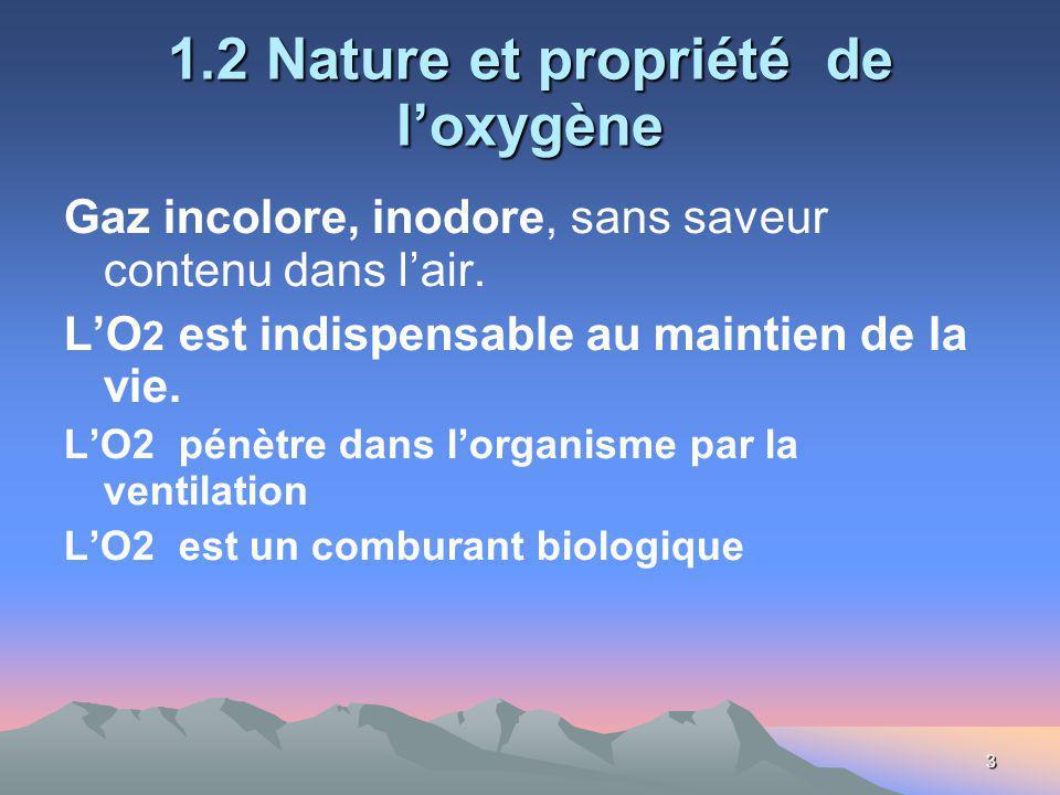 3 1.2 Nature et propriété de loxygène Gaz incolore, inodore, sans saveur contenu dans lair. LO 2 est indispensable au maintien de la vie. LO2 pénètre