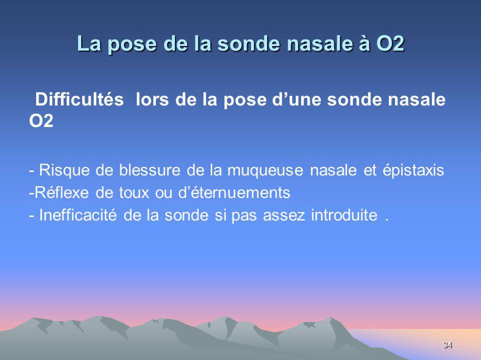 34 La pose de la sonde nasale à O2 Difficultés lors de la pose dune sonde nasale O2 - Risque de blessure de la muqueuse nasale et épistaxis -Réflexe de toux ou déternuements - Inefficacité de la sonde si pas assez introduite.