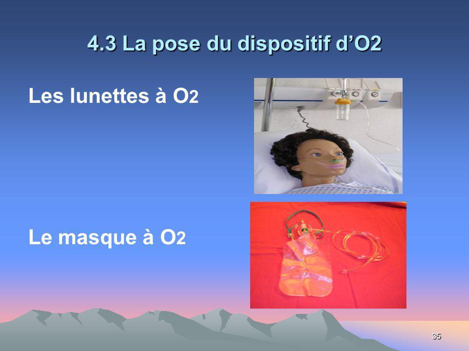 35 4.3 La pose du dispositif dO2 Les lunettes à O 2 Le masque à O 2