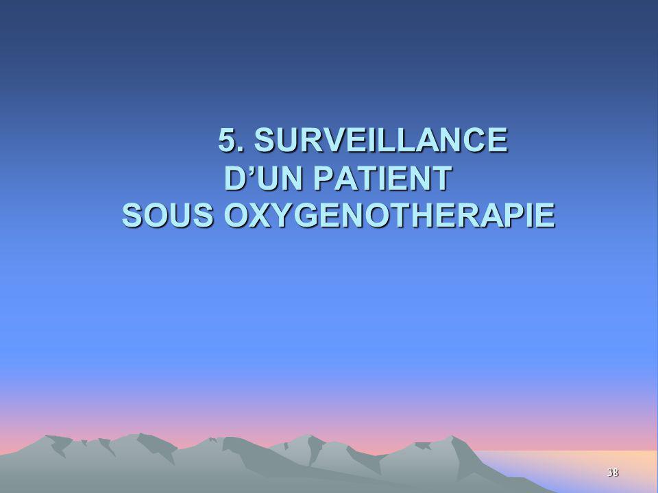 38 5. SURVEILLANCE DUN PATIENT SOUS OXYGENOTHERAPIE 5. SURVEILLANCE DUN PATIENT SOUS OXYGENOTHERAPIE