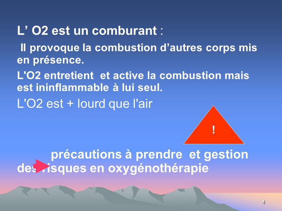 4 L O2 est un comburant : Il provoque la combustion dautres corps mis en présence. L'O2 entretient et active la combustion mais est ininflammable à lu