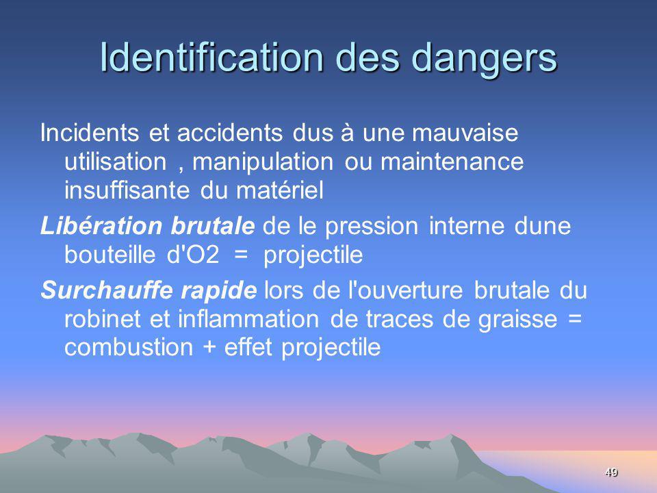 49 Identification des dangers Incidents et accidents dus à une mauvaise utilisation, manipulation ou maintenance insuffisante du matériel Libération b